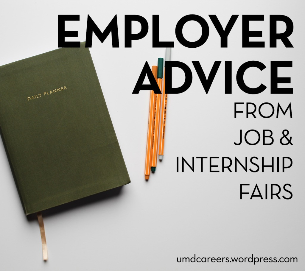 Image: green daily planner and 3 markers laying on white background Text: Employer advice from job & internship fairs