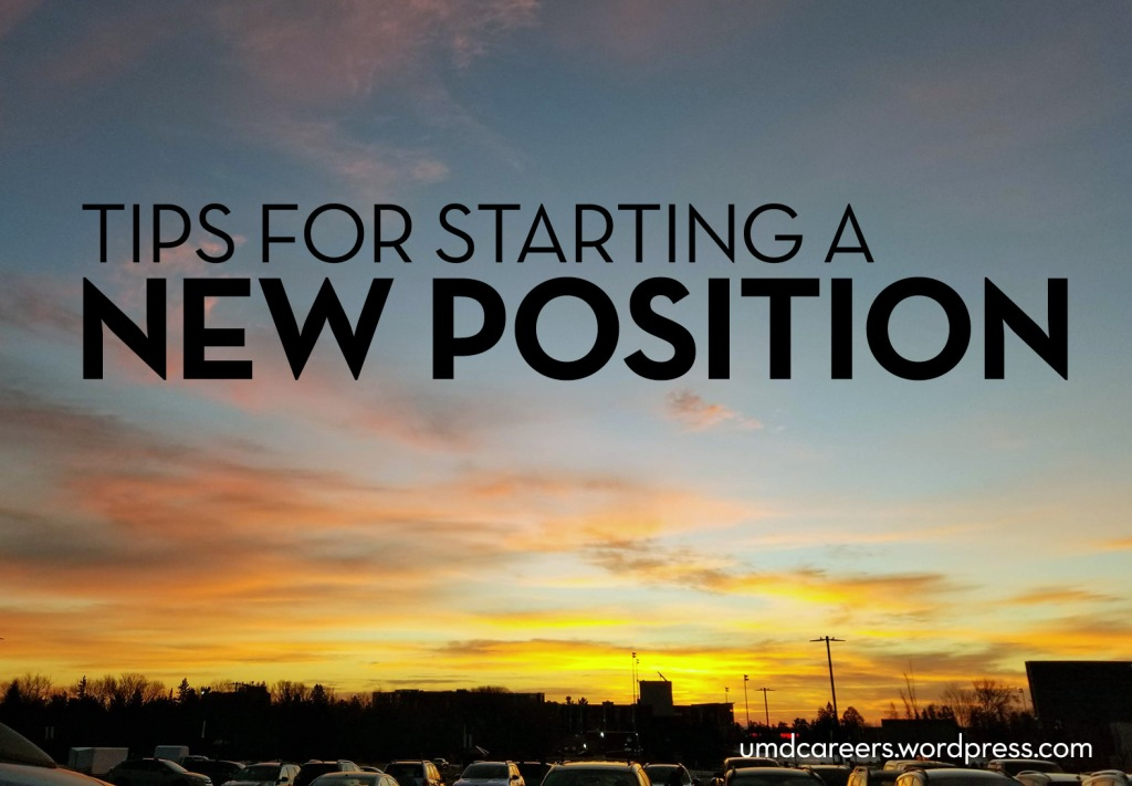 Image: mostly sky for sunrise, with parked cars along bottom of photo Text: Tips for starting a new position