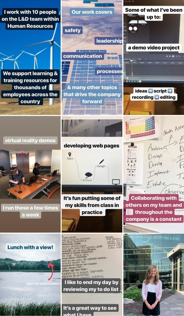 Collage of photos from an internship experience.